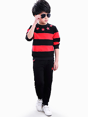 Boy's Round Collar Casual/Daily Sports Star Print Color Block Stitching Patched Clothing Set (Hoodie & Pants)
