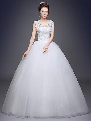 볼 드레스 웨딩 드레스 바닥 길이 스쿱 새틴 / 튤 와 아플리케