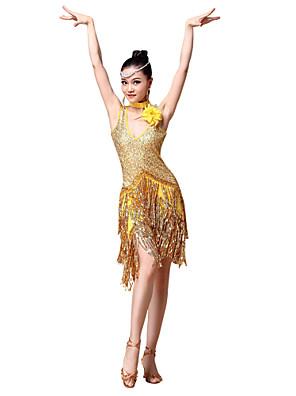 Dança Latina Vestidos Mulheres Actuação Poliéster / Lantejoulas Flor(es) / Lantejoulas / Borla(s) 2 Peças Vestidos / NeckwearM:110cm