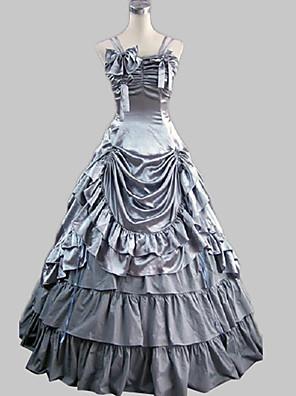 Jednodílné/Šaty Gothic Lolita Princeznovské Cosplay Lolita šaty Stříbrná Jednobarevné Bez rukávů Long Length Šaty Pro Dámské Satén