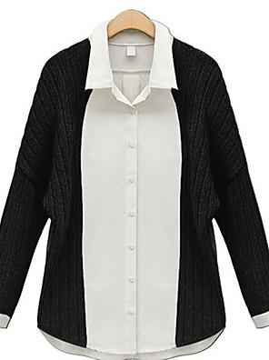 Mulheres Camisa Casual Simples Verão,Patchwork Preto Poliéster Colarinho de Camisa Manga Longa Opaca