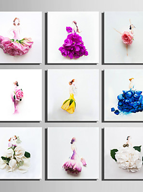 E-HOME® Stretched Canvas Art Flower Skirt Woman Series Decoration Painting MINI SIZE One Pcs