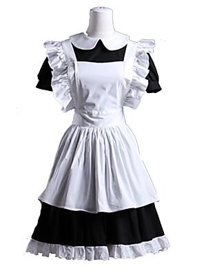 Uma-Peça/Vestidos / Ternos de Empregadas Doce Lolita Cosplay Vestidos Lolita Branco / Preto Miscelânea Manga Curta Comprimento Curto