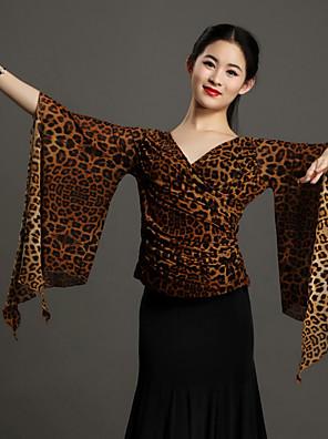 Dança de Salão Blusas Mulheres Actuação Tule Estampado Animal 1 Peça Luva de comprimento de 3/4 Natural TopS:52cm M:53cm L:54cm XL:55cm