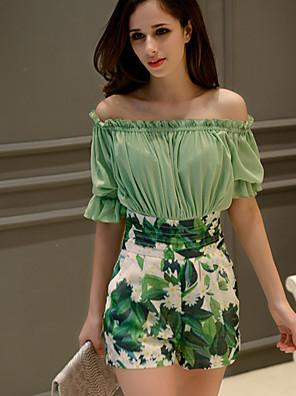 De dabuwawa vrouwen bloemen groene jumpsuits, sexy / casual / day off shoulder ½ mouwlengte