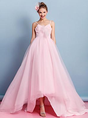lanting 웨딩 드레스 - 비대칭 스파게티 스트랩이 얇은 명주 그물 A 라인을 신부