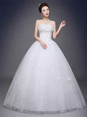 볼 드레스 웨딩 드레스 바닥 길이 끈없는 스타일 새틴 / 튤 와 아플리케
