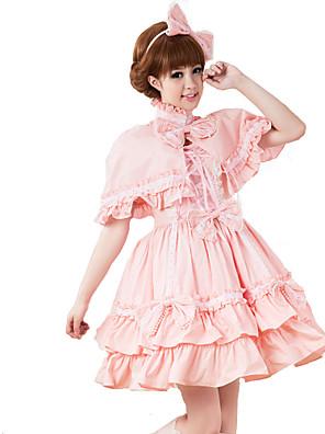 Roupa Doce Lolita Cosplay Vestidos Lolita Rosa Cor Única Manga Curta Comprimento Médio Vestido / Xale Para Feminino Algodão