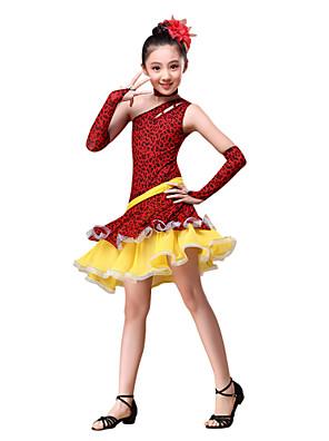 ריקוד לטיני תלבושות בגדי ריקוד ילדים ביצועים כותנה / פוליאסטר Ruched / Leopard 4 חלקים כפפות / שמלות / Neckwear S:60cm  M:64cm  L:68cm