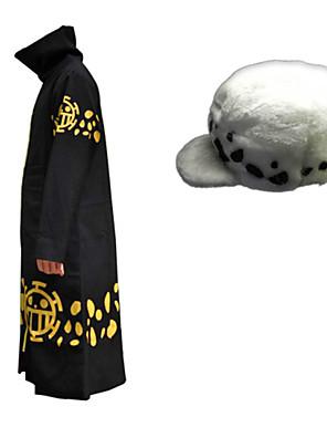 קיבל השראה מ One Piece רכבת / מכפלת אנימה תחפושות קוספליי חליפות קוספליי דפוס שחור גלימה / כובע