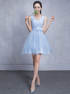 Short / Mini Tulle Bridesmaid Dress - A-line V-neck with Bow(s)