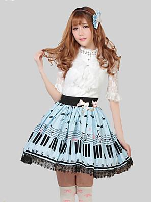 חצאית לוליטה מתוקה נסיכות Cosplay שמלות לוליטה כחול דפוס לוליטה אורך בינוני חצאית ל נשים פוליאסטר