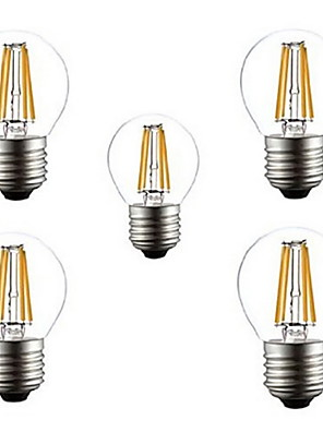 5pcs G45 4w E27 400lm 360 graders varm / kold hvid farve edison glødetråd lys førte glødelampe (AC220V)