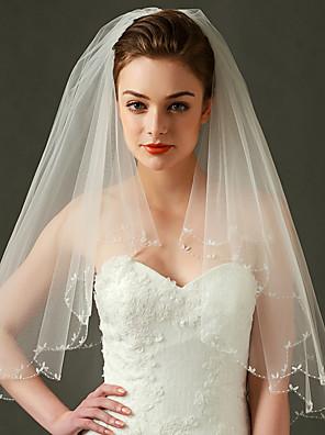 Véus de Noiva Duas Camadas Véu Cotovelo Borda Enfeitada / Borda Recortada Tule Marfim
