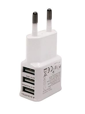 Univerzális EU Plug 3 portos USB töltő iphone 6/6 plus / 5 / 5S Samsung S4 / 5 HTC LG és a többiek