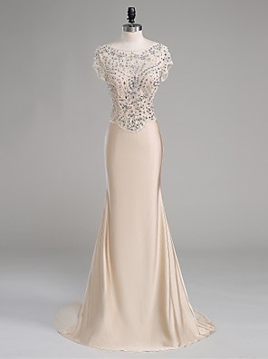 TS Couture® Formal Evening Dress Trumpet / Mermaid Scoop Court Train Polyester with Beading
