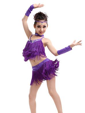 Dança Latina Roupa Crianças Actuação Elastano / Poliéster Cristal/Strass / Borla(s) 6 Peças Sem Mangas AltoLuvas / Saia / Neckwear /