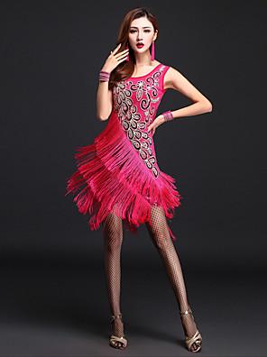 ריקוד לטיני שמלות בגדי ריקוד נשים ביצועים Chinlon / ניילון גדיל (ים) חלק 1 בלי שרוולים גבוה שמלות M:86cm,L:88cm,XL:88cm