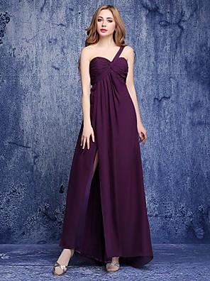 2017 Lanting andar de comprimento bride® chiffon dama de honra vestir uma linha de um ombro com drapeados lado