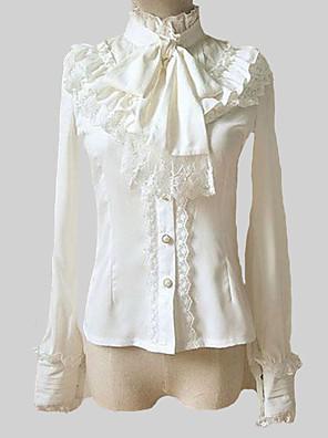 Blusa/Camisa Lolita Clássica e Tradicional Lolita Cosplay Vestidos Lolita Branco Cor Única Manga Comprida Lolita Blusa Para Feminino
