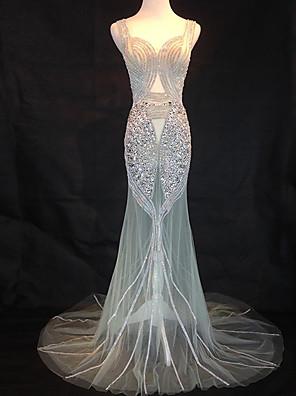 Торжественное мероприятие Платье Русалка Сердцевидный вырез Со шлейфом средней длины Тюль с Бусины