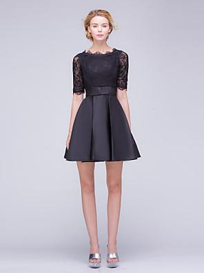 Cocktail Party Dress A-line Bateau Short / Mini Lace / Satin with Bow(s) / Lace / Ruffles / Sash / Ribbon
