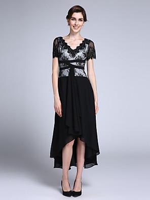 2017 לנטינג אמא נדן / טור bride® של שיפון שרוול קצר הסימטרי שמלת כלה עם אפליקציות