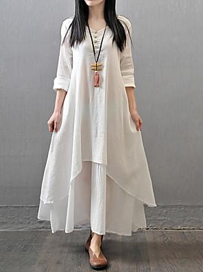 סתיו כותנה / פוליאסטר אדום / לבן / צהוב שרוול ארוך מקסי צווארון V אחיד פשוטה / סגנון סיני יום יומי\קז'ואל שמלה משוחרר נשים,גיזרה בינונית