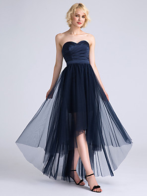 Lanting Bride® Assimétrico Cetim / Tule Vestido de Madrinha - Linha A Coração com Cruzado / Franzido