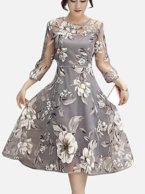 Mulheres Evasê Vestido,Casual / Tamanhos Grandes Moda de Rua Floral Decote Redondo Altura dos Joelhos Manga Longa Cinza Poliéster