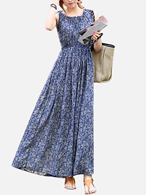 Vrouwen Casual/Dagelijks / Vakantie Boho Grote Maten / Chiffon / Wijd uitlopend Jurk Print-Ronde hals Midi Mouwloos Blauw Polyester Zomer