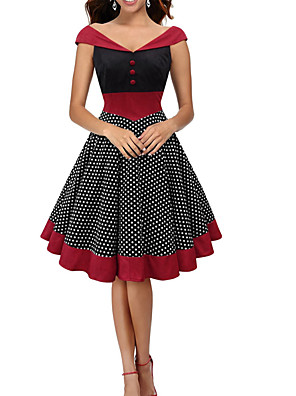 קיץ כותנה / פוליאסטר אדום ללא שרוולים עד הברך צווארון V מנוקד וינטאג' ליציאה שמלה גזרת A נשים