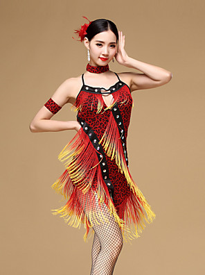 ריקוד לטיני שמלות בגדי ריקוד נשים ביצועים Chinlon / ויסקוזה קריסטלים / rhinestones / גדיל (ים) / Leopard 3 חלקים בלי שרוולים טבעישמלות /