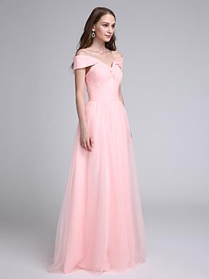 2017 Lanting vestido longo bride® tule dama de honra - uma linha off-a-ombro com cruz criss