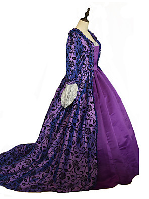 Jednodílné/Šaty Gothic Lolita Steampunk® / Viktoria Tarzı Cosplay Lolita šaty Fialová Květinový Dlouhé rukávy Long Length Šaty Pro Dámské