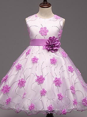 Girl's Party/Cocktail Floral Dress,Polyester Summer Pink / Purple