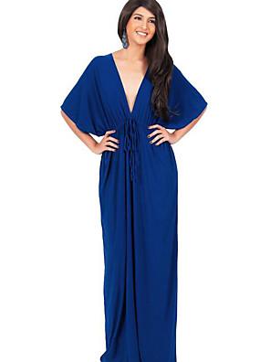 קיץ פוליאסטר כחול / שחור / אפור אורך חצי שרוול מקסי V עמוק אחיד סקסי יום יומי\קז'ואל / מידות גדולות שמלה נדן נשים