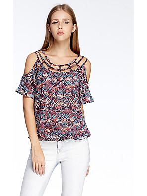 heartsoul kvinders gå ud simpel sommer t-shirt, udskrive rund hals kortærmet rød polyester tynd