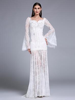 2017 ts couture® formelle aftenkjole kappe / kolonne firkantet feje / børste tog blonde med applikationsbroderi / beading
