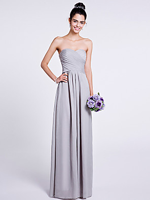 Lanting Bride® Na zem Šifón Šaty pro družičky - A-Linie Bez ramínek / Srdce s Křížení