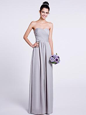 Lanting Bride® עד הריצפה שיפון שמלה לשושבינה - גזרת A סטרפלס / מחשוף לב עם בד בהצלבה