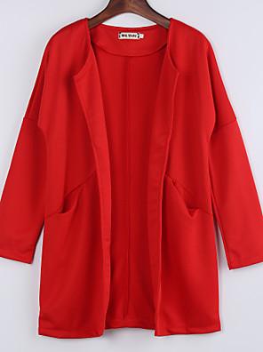 Dámské Jednobarevné Kabát-Polyester Zima Kulatý Dlouhý rukáv Modrá / Červená Střední