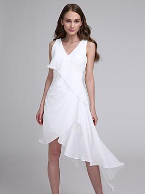 2017 Lanting bride® asymetrické šifon družička šaty - a-linie výstřih s