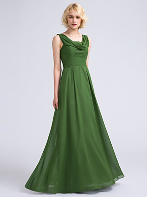 Lanting Bride® Na zem Šifón Šaty pro družičky - A-Linie Kutna s Sklady
