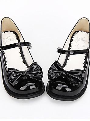 נעליים לוליטה מתוקה / לוליטה קלאסית ומסורתית נסיכות עקב שטוח נעליים סרט פרפר 2.5 CM Black ל נשים עור פוליאוריתן