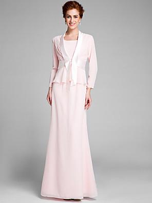 2017 Lanting bride® trompete / mãe sereia da noiva vestido longo de chiffon de manga longa com faixa fita /