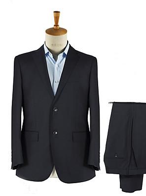 2017 חליפות מחויטות חריץ בכושר רכיסת שני כפתורי צמר מוצקים 2 חתיכות ישרות שחור התנופפו שחורות