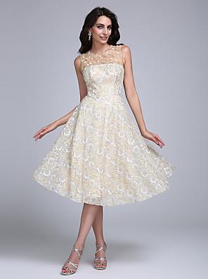 2017 cocktailparty kjole a-line juvel knælang blonde med beading / flower (s)