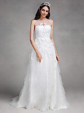 Lanting Bride A-line Wedding Dress Court Train Jewel Tulle with Appliques