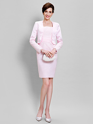 Sheath/Column Mother of the Bride Dress - Knee-length Long Sleeve Lace / Satin